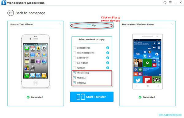 Mobiletrans Trasferire Dati Tra Iphoneipad E Windows