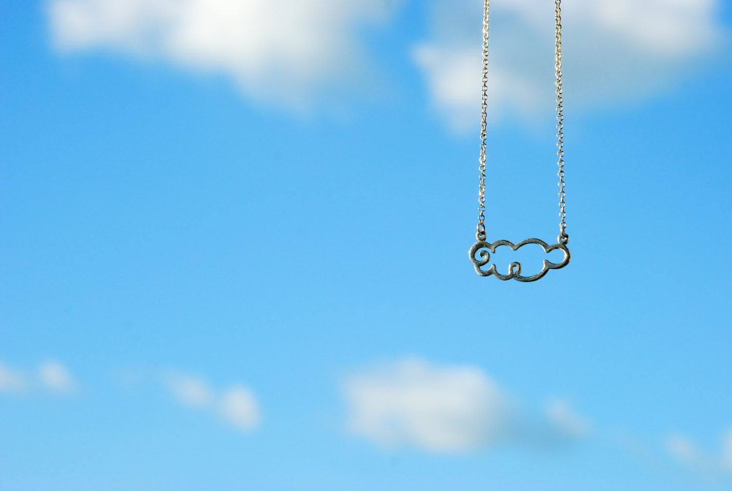 Fat cloud sterling silver necklace - arajera