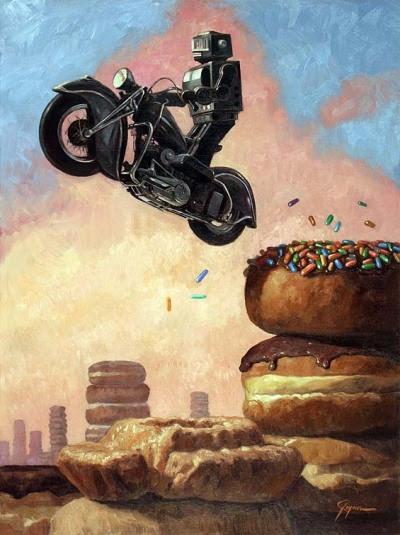"Title: Pink Cloud aka Dark Rider ReturnsMedium: Oil on BoardSize: 27"" x 36""Date: 2008"
