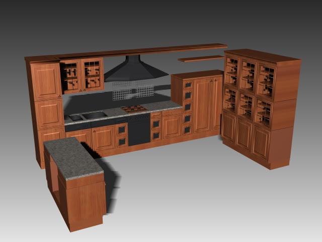 U shaped kitchen cabinets 3d model 3dsMax,3ds,AutoCAD ...