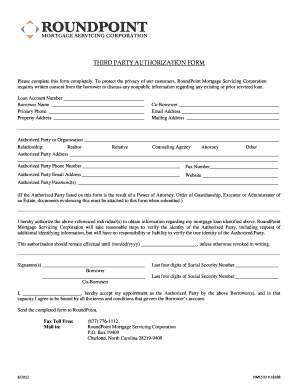 roundpoint mortgage 3rd party form Fill Online, Printable ...