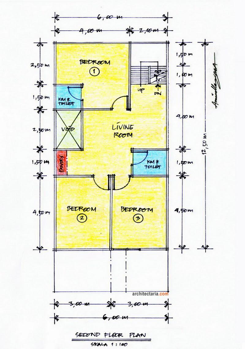 Gambar Denah Rumah Minimalis Type 45 96 Lengkap Rumahmewah45