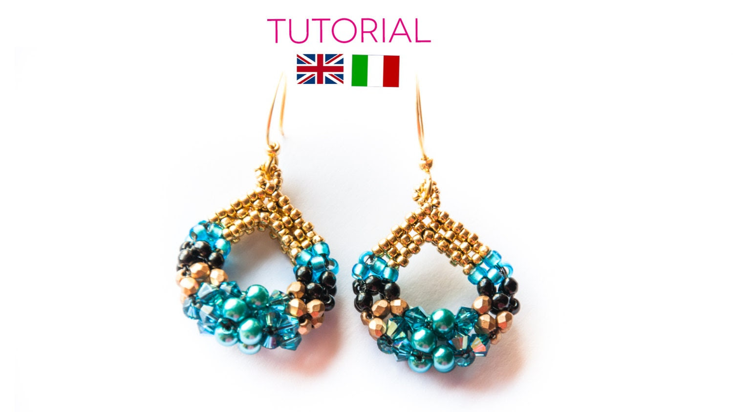 Blue drop Earrings Tutorial -  PDF PATTERN (ENGLISH or Italian available) - AgapeBijouxCreations