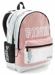 Details about 1 Victoria's Secret Campus PINK BEGONIA IRID METALLIC Backpack Large School Gym