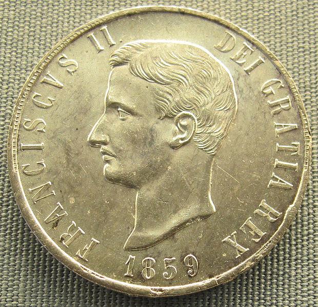 File:Napoli, piastra di francesco II borbone, 1859.JPG