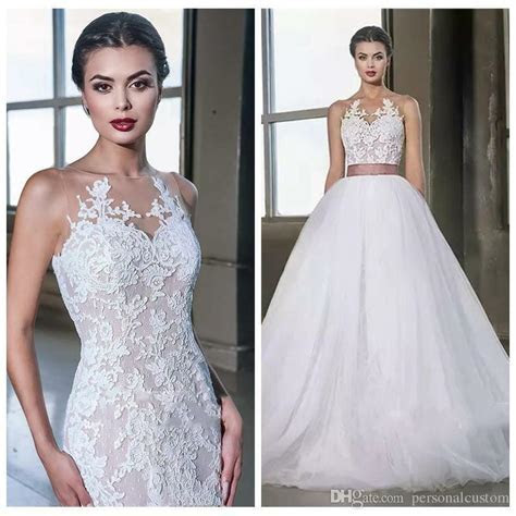Lace Appliques Mermaid Wedding Dress With Detachable Skirt