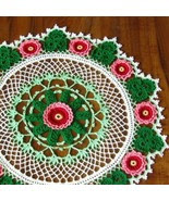Roses and Shamrocks Round Mat - Irish Crochet A... - $25.00