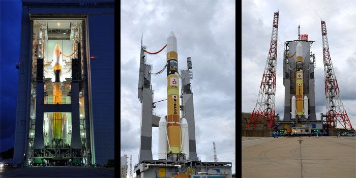 Photos showing the H-IIA rocket rolling from the Vehicle Assembly Building out to the launch pad at Tanegashima Space Center in Japan, on May 16, 2010 (California time).