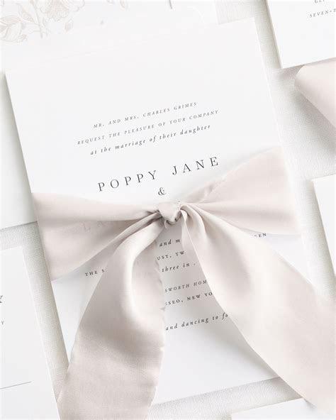Poppy Ribbon Wedding Invitations   Ribbon Wedding