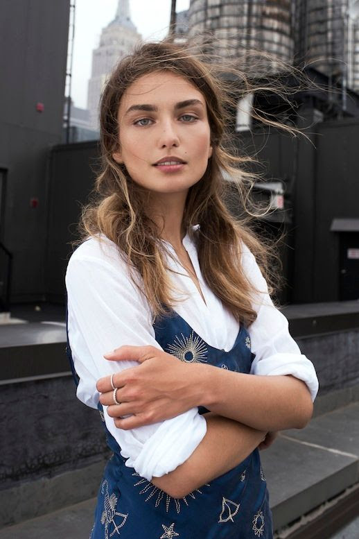 Le Fashion Blog Model Style Andreea Diaconu Blue Printed Slip Dress Layered Over A Collared White Button Down Shirt Silver Rings Via Shine By Three