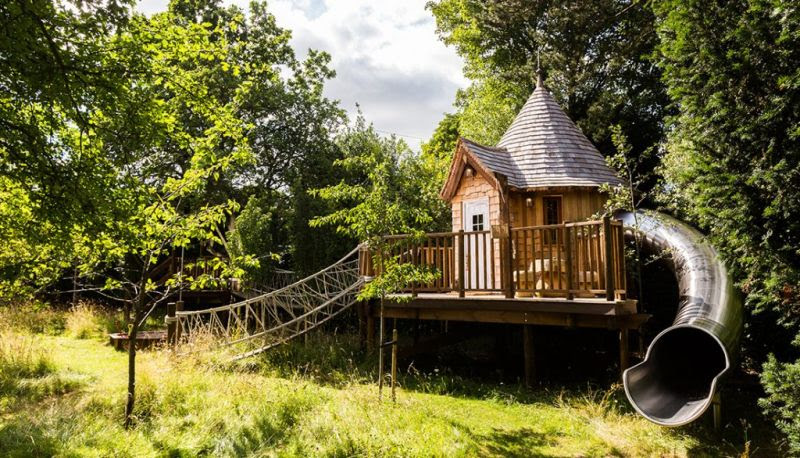 Blue Forest%E2%80%99s fairytale treehouse complete with its own slide