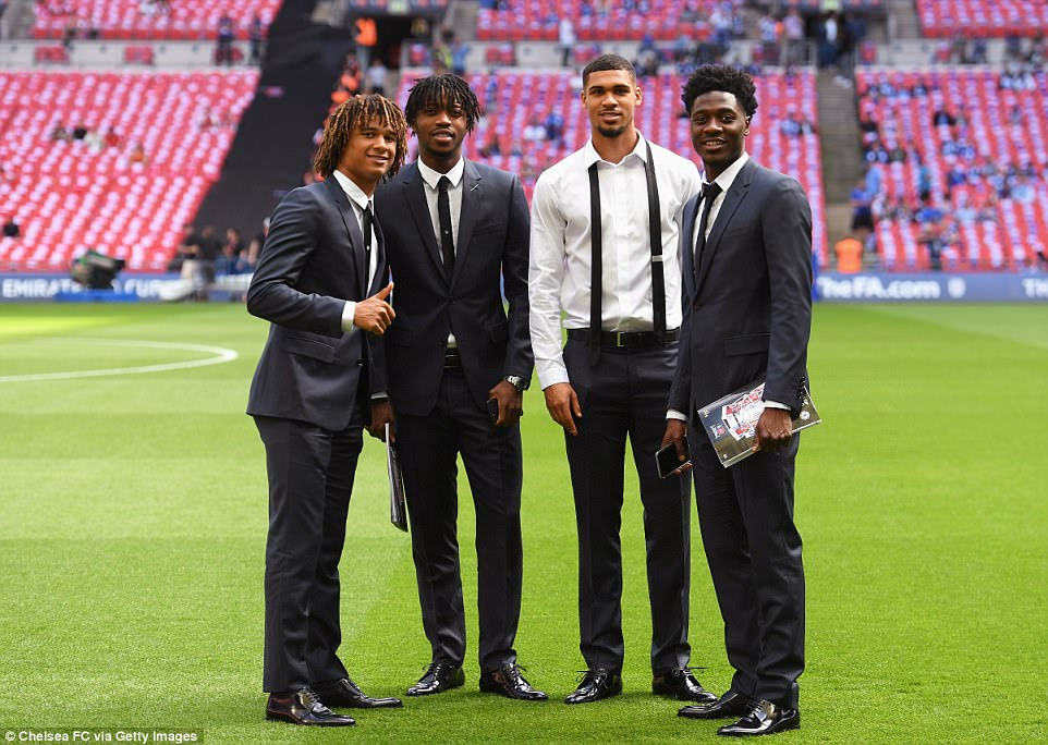 (From left) Nathan Ake, Nathaniel Chalobah, Ruben Loftus-Cheek and Ola Aina smile for the camera prior to the fixture