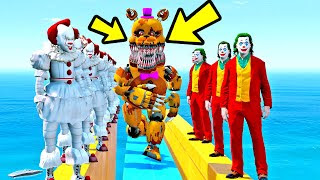 Fredbear Animatronics Parkour Com Os Super Viloes Gta V Five - 5 animatronics secretos escondidos no roblox circus baby s pizza