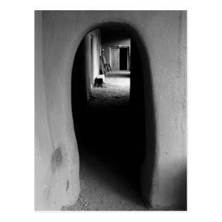 Adobe Passageway: Black & White photo of Taos, NM Post Card