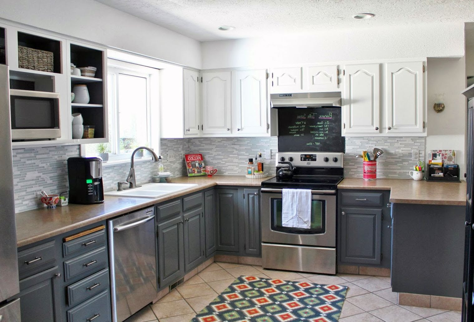 Grey Wood Kitchen Cabinets Design With Brown Granite And Black