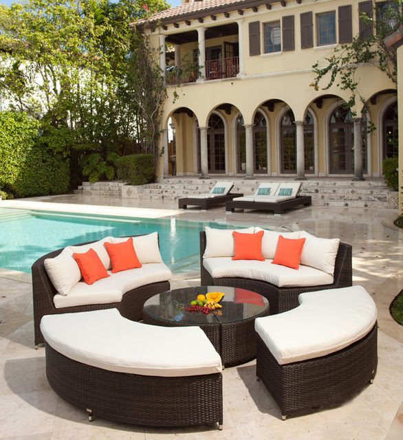 Modern Circular Wicker Sectional for the Patio - contemporary ...