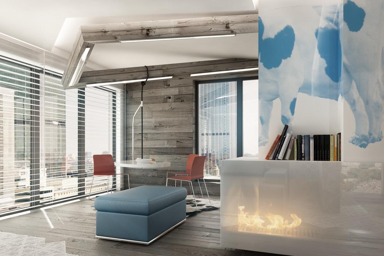 Blue Brown White Modern Dining Room Interior Design Ideas