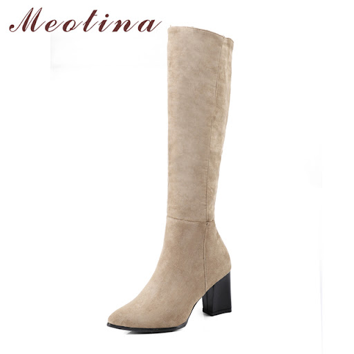 Cheap Meotina Knee High Boots Women High Heels Ladies Boots 2018 Winter  Long Boots Thick Heels Zip Shoes Beige Black Big Size 33-42 9c2262e68a4f