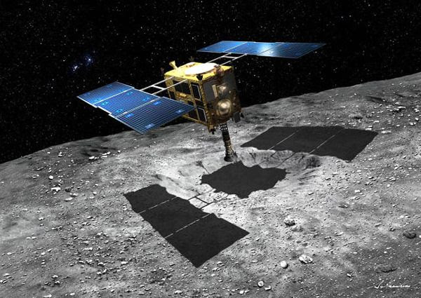 An artist's concept of the Hayabusa 2 spacecraft obtaining soil samples from the surface of asteroid Ryugu.