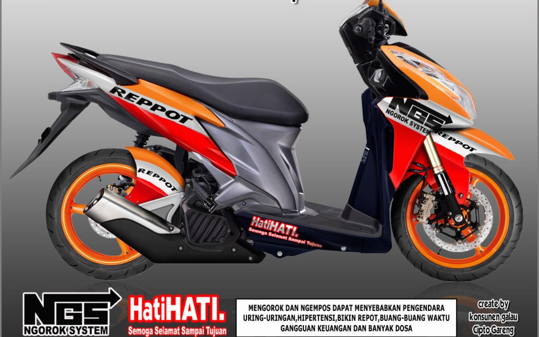 100 Modifikasi Motor Vario 125 Warna Orange Terkeren Kumbara Modif
