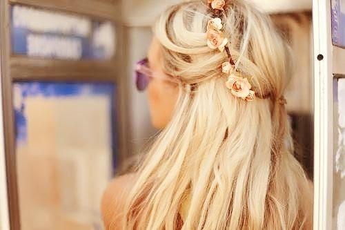 cute long blonde hair with flowers