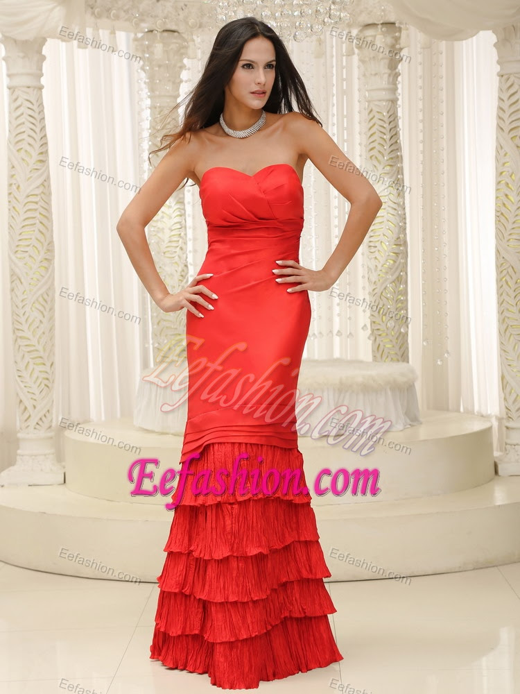 red long lovely formal wedding guest dresses with sweetheart