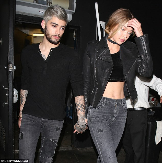 Big night: Zayn Malik and Gigi Hadid left The Nice Guy in West Hollywood hand in hand around 2.3am on Sunday morning