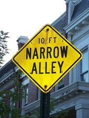 Narrow Alley sign, Kenyon Street NW