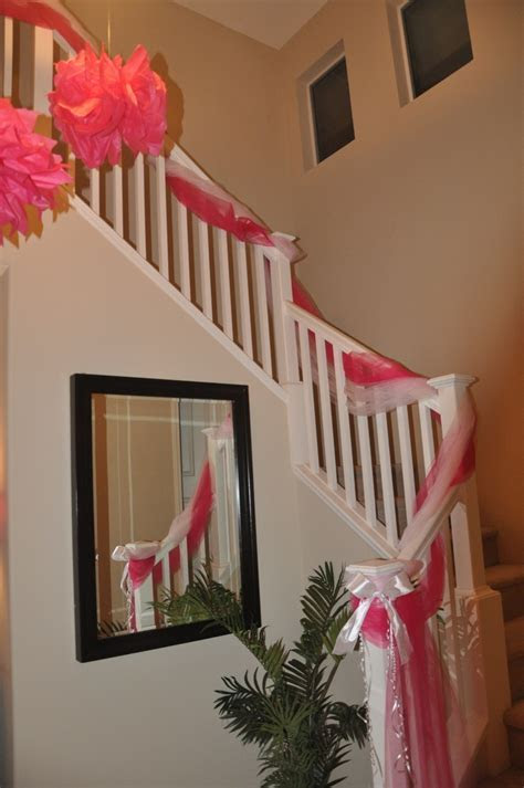 Tulle Decorated Staircase @Stephanie Crowley  uh oh. lol