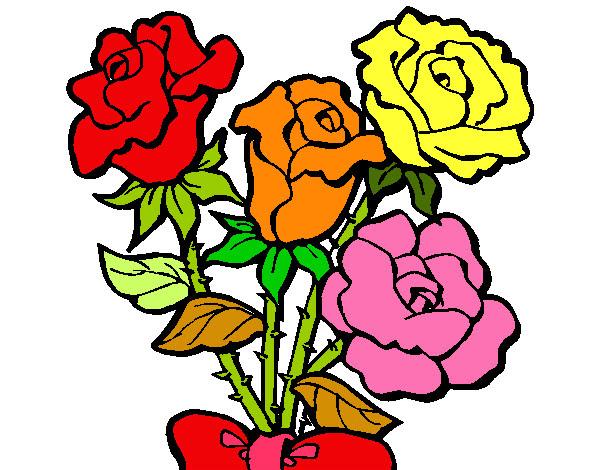 Dibujo De Rosas De Colores Pintado Por Natalia27 En Dibujos Net El