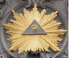 O olho de Horus dentro de um triângulo (divindade que simboliza) cercado pelo brilho de Sírius, a Estrela Flamejante