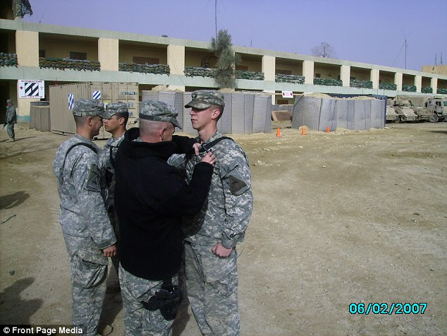 Decorated: Michael Humphreys served in Iraq on an 18-month tour of duty as a Specialist in the 1st battallion 36th Infantry Regiment and was congratulated for his service while on duty