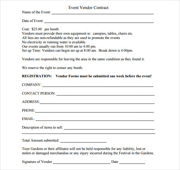 Sample Vendor Contract Template 13 Free Samples