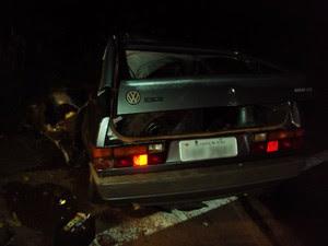 Acidente entre um carro e um ônibus em Cachoeira do Sul na quinta-feira (1º) (Foto: Polícia Civil/Divulgação)