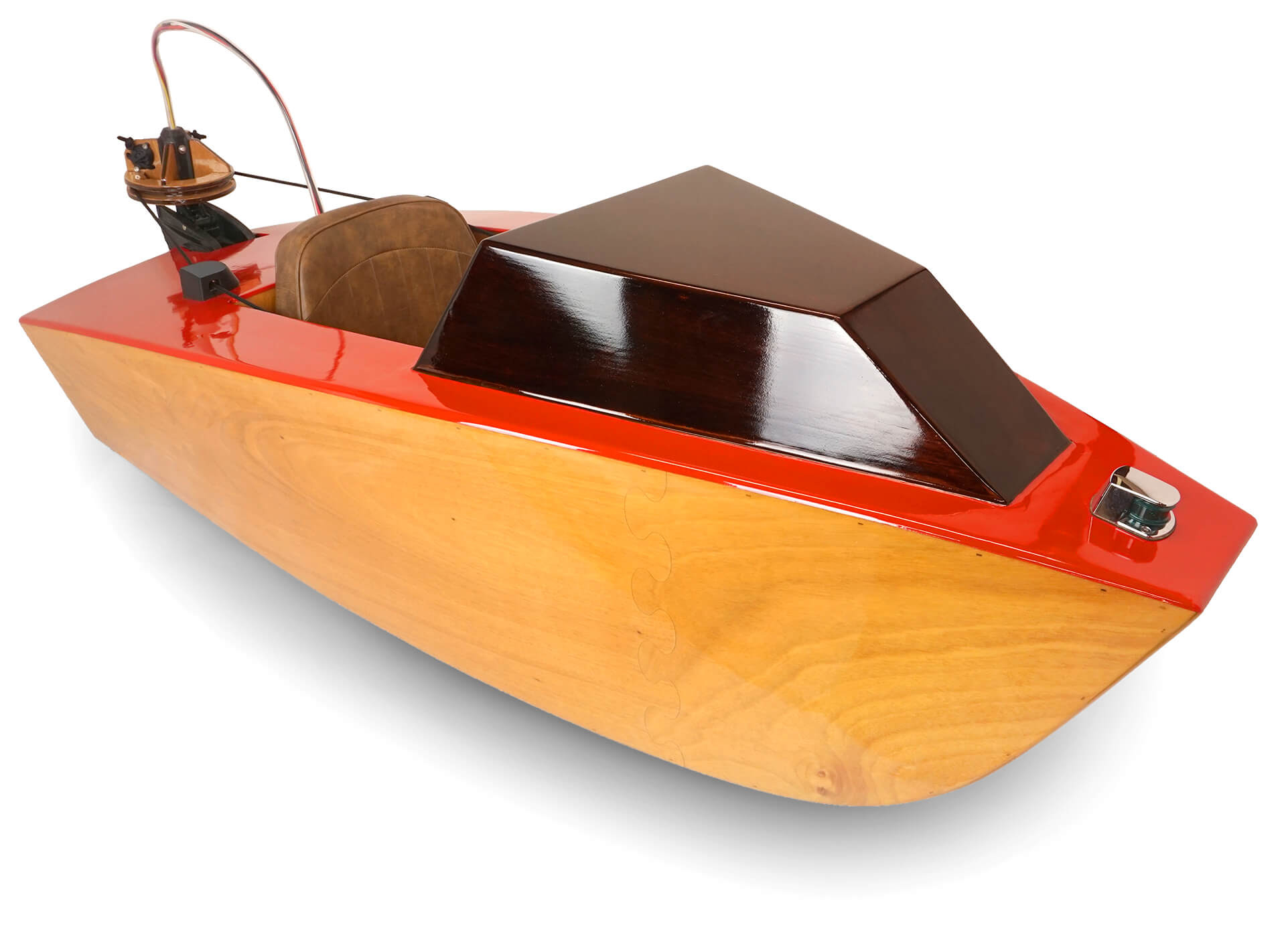 A front 3/4 view of the mini electric boat
