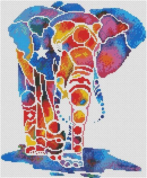 multi colored elephant cross stitch galleryru slon