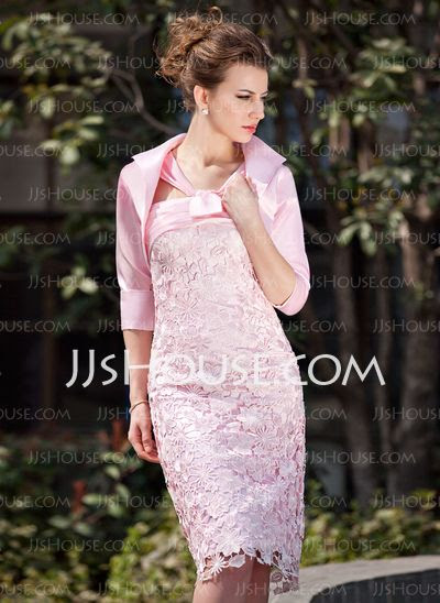 <3 {for the wedding??}  A-Line/Princess V-neck Knee-Length Charmeuse Lace Mother of the Groom Dress (pink)