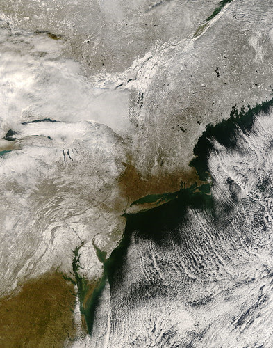 Satellie view of the first snow in the Northeastern United States