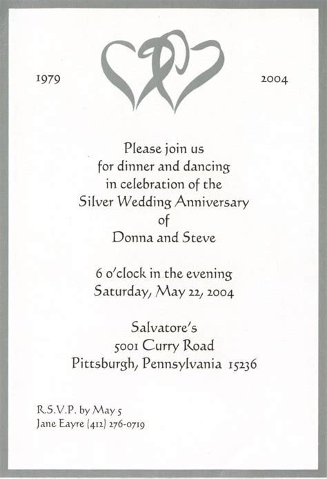 25th marriage anniversary of mom dad invitation card
