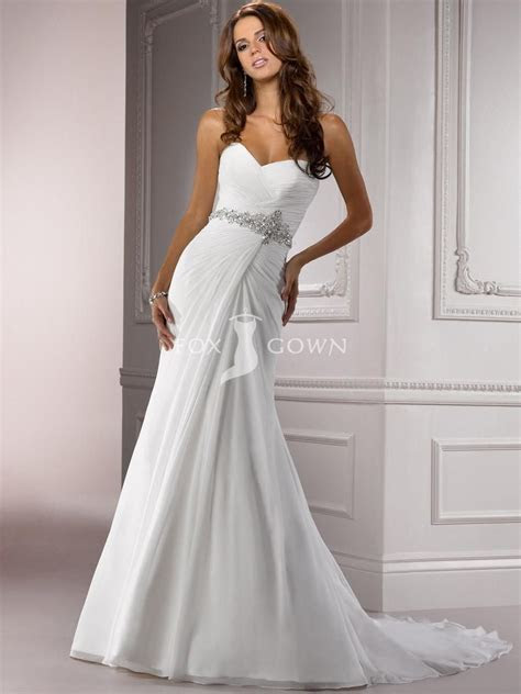 chiffon ruched a line wedding gown with beaded belt and