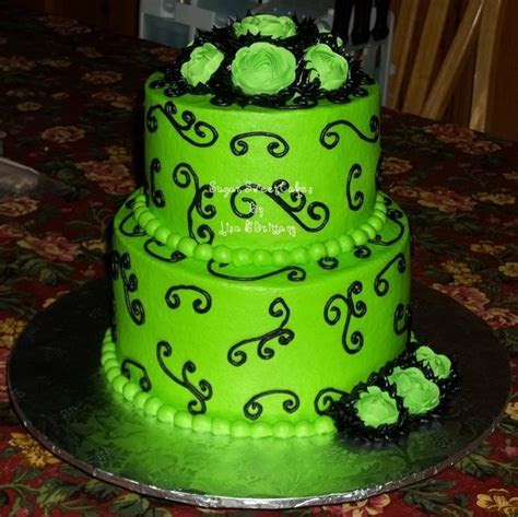 Lime Green & Black ~ Wedding   CakeCentral.com