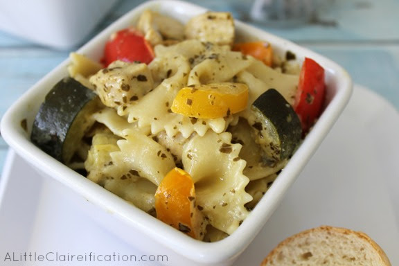 Creamy Pesto Chicken And Vegetable Pasta Recipe by ALittleClaireification.com