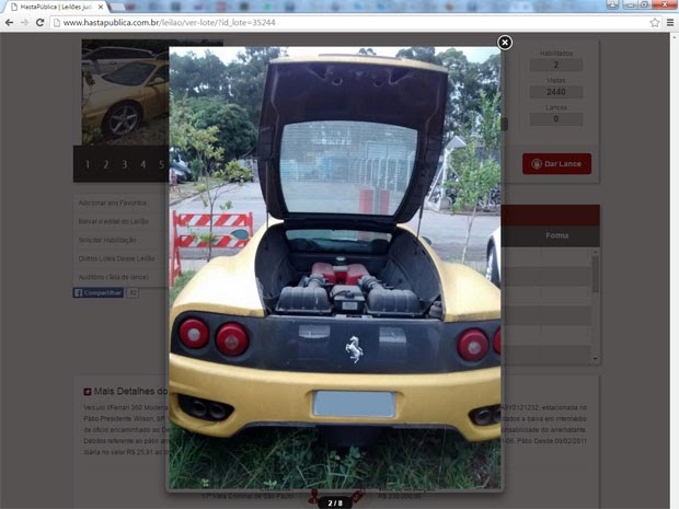 Ferrari 360 Modena F1 apreendida em ação judicial por tráfico de drogas vai a leilão em São Paulo (Foto: Divulgação/HastaPública Leilões )