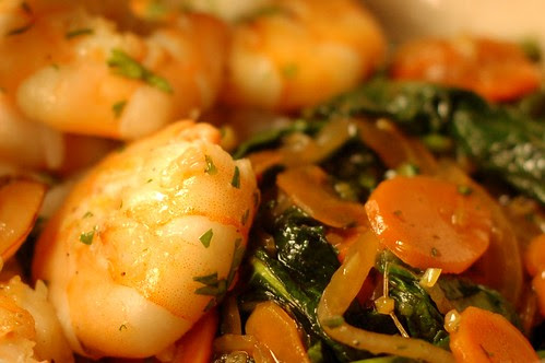 Stir-Fried Winter Greens With Garlic Shrimp