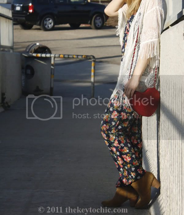 Lulu's sultry with the fringe lace top, Zara floral jumpsuit, Aldo Qualheim boots, heart-shaped handbag, southern California fashion blog