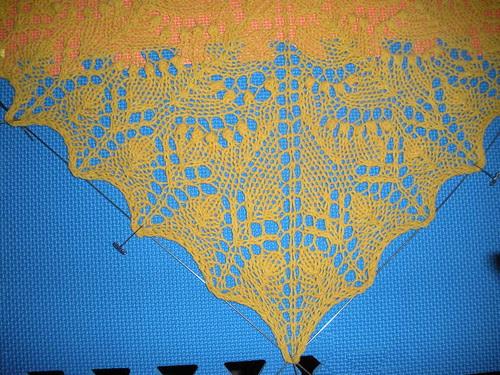 Blocking the Swallowtail Shawl Detail