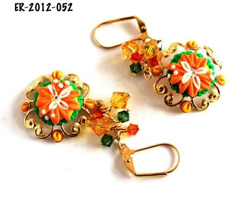 Orange and white Flower Earrings Green Orange Yellow Swarovski Beads | bluemorningexpressions - Jewelry on ArtFire