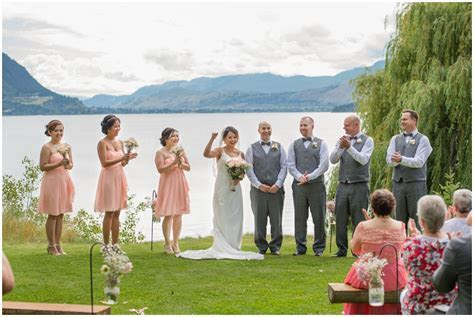 13 Outdoor Shuswap Lake Summer wedding Quaaout Lodge peach