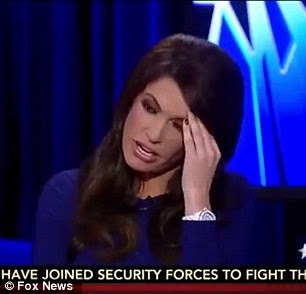 Covering her face with her hand, Guilfoyle says 'Oh my God. Why are they are ruining my thing?'