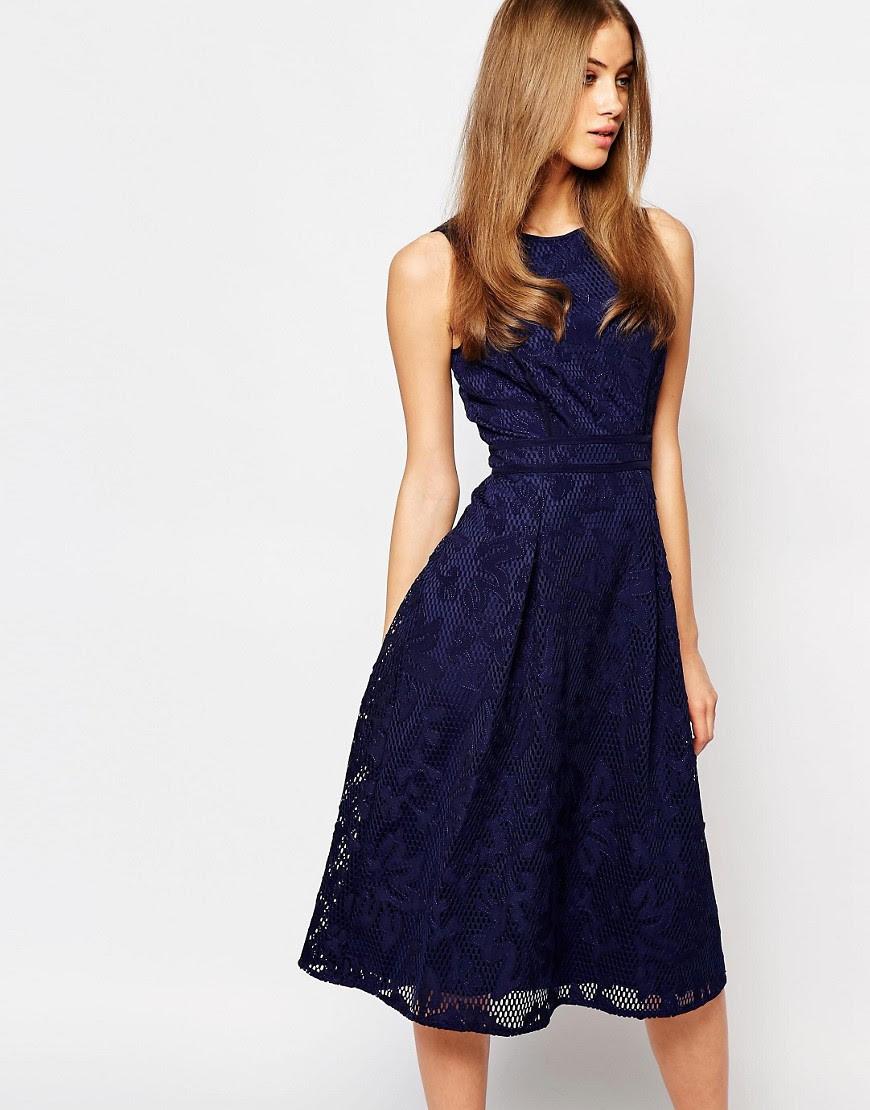 Image 1 ofWarehouse Premium Lace Midi Skater Dress